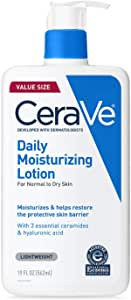 CeraVe Daily Moisturizing Lotion for Dry Skin | Body Lotion & Facial Moisturizer with Hyaluronic Acid and Ceramides | Fragrance Free | 19 Ounce
