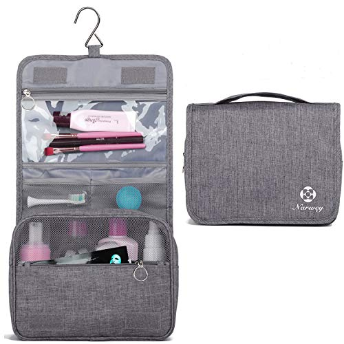Hanging Travel Toiletry Bag Cosmetic Make up Organizer for Women and Girls Waterproof (Y-Grey)