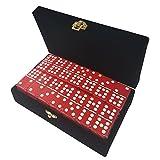 : Double 9 Red Dominoes Jumbo Tournament Size in Elegant Velvet Box