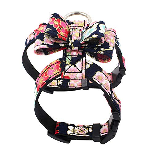 Floralby Flower Print Bowknot Adjustable Pet Harness Puppy Dog Walking Chest Strap Vest ()