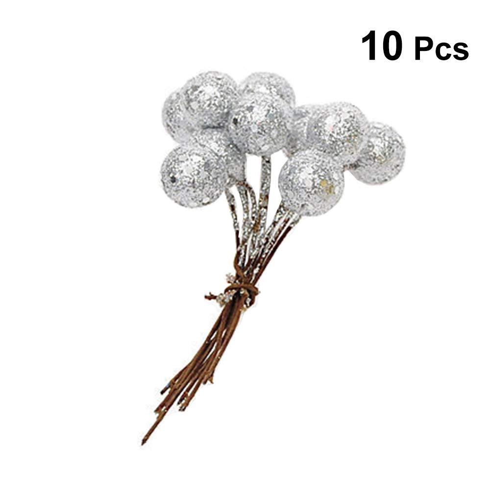 BESTOYARD Branche de Noël en Argent avec Baies artificielles avec Boules décoratives de Noël pour Fruits 10pcs 1.5cm