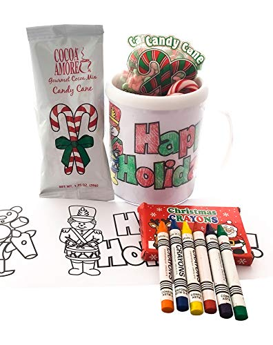 Christmas Color Your Own Mug, Crayons and Hot Chocolate, (Cocoa), and Candy Cane Gift Set - Great DIY Holiday Craft or Gift Idea Stocking Stuffer for Kids, Grandson, Granddaughter (Happy Holidays) (Chocolate Kids Christmas)