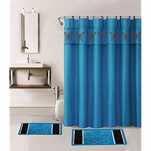 Marcielo Shower Curtain Set 15 Piece Butterfly Bathroom 2 Rugs Mats 1 Fabric 12 Covered Rings Turquoise For