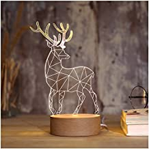 Night Light, 3D Illusion LED, Kids Younger Bedroom Night Lamp USB Desk Light Christmas 2018 New Year Decoration, Deer