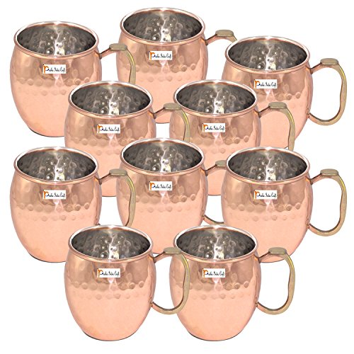 20-Ounce - Set of 10 - Prisha India Craft ® Copper Plating Stainless Steel Mule Mug Thumb Handle Premium Moscow Mule Copper Mug, Cocktail Cup, Copper Mugs, Cocktail Mugs – Christmas Gift Item by Prisha India Craft