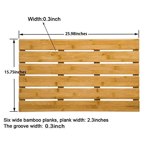 GOBAM Large Bath Mats Shower Mat Bathroom Floor Mat Non Slip for Spa Tub and Kitchen,Bamboo (26 x 15.8 x 1.3 inches) by GOBAM (Image #2)