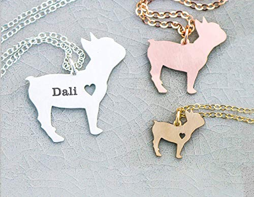 French Bulldog Necklace - IBD - Frenchie - Personalize Name Date - Pendant Size Options - 935 Sterling Silver 14K Rose Gold Filled Charm - Fast 1 Day - Charm Silver Bulldogs