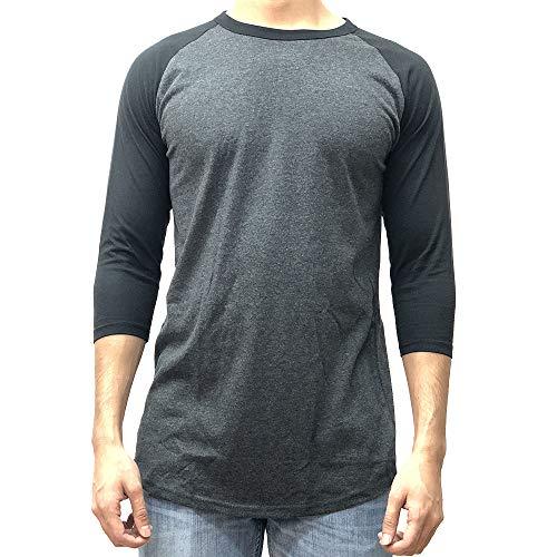 KANGORA Men's Plain Raglan Baseball Tee T-Shirt Unisex 3/4 Sleeve Casual Athletic Performance Jersey Shirt (24+ Colors) (Charcoal Black, X-Large)