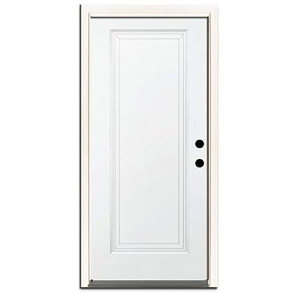Premium 1 Panel Primed White Steel Entry Door With 36 In Left Hand