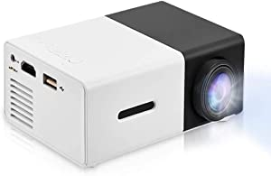 Mini Projector Portable 1080P LED Projector Home Cinema Theater Movie projectors Support Laptop PC Smartphone HDMI Input Great Gift Pocket Projector for Party and Camping(Black)
