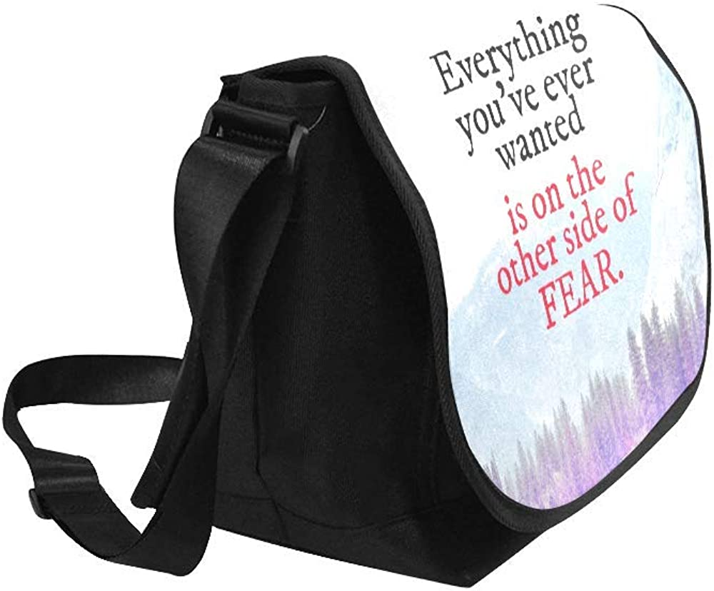 InterestPrint Inspirational Quote Mens Womens Messenger Bag Crossbody Shoulder Bags for School Traveling Black