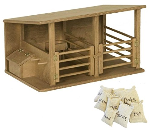 Toy Horse Stable Barn with Feedsacks Two Stalls USA Handcrafted