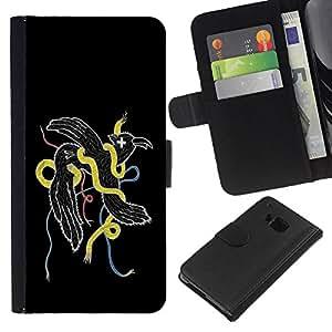 EJOY---La carpeta del tirón la caja de cuero de alta calidad de la PU Caso protector / HTC One M7 / --Resumen Weird Pájaro Serpiente
