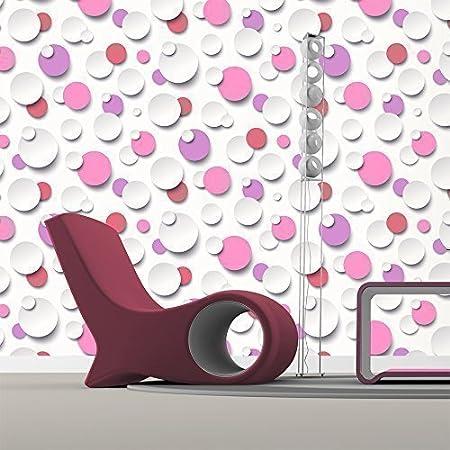 Just Like It Muriva Circles Polka Dot Spots White Textured Designer Wallpaper Purple Red