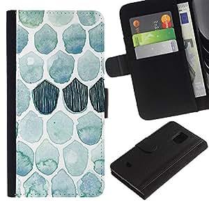 Planetar® Modelo colorido cuero carpeta tirón caso cubierta piel Holster Funda protección Para Samsung Galaxy S5 Mini / SM-G800 (Not For S5!!!) ( Pattern Watercolor Teal Fish )