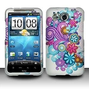 PURPLE & BLUE FLOWERS Hard Plastic Design Matte Case for HTC Inspire 4G / Desire HD [In Twisted Tech Retail Packaging]