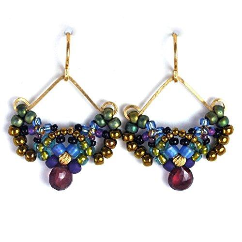 Romantic Bohemian Earrings with Natural Garnet, 14K Gold Filled. Artisan Handcrafted; One (Bohemian Garnet Earrings)