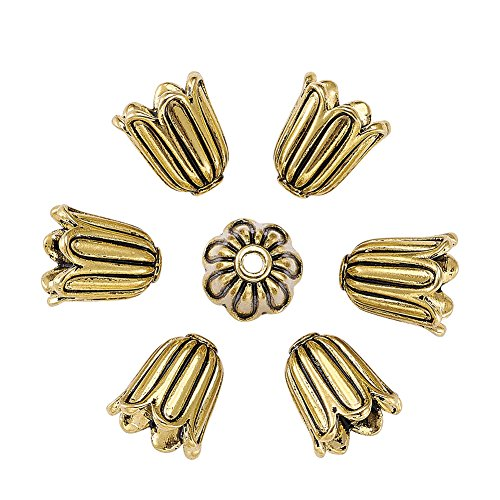 tan Style Alloy Flower Bead Caps Large Beads Spacers Jewelry Makings 10x10mm Cadmium Free & Lead Free & Nickel Free Antique Golden ()