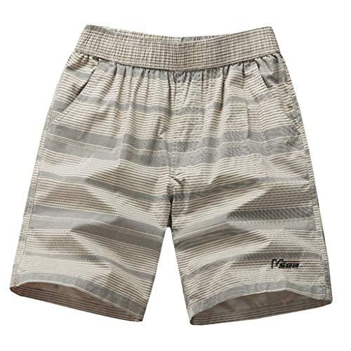 Matasleno Men's Quick Dry Swim Trunks Colorful Stripe Beach Shorts with Mesh Lining Khaki -