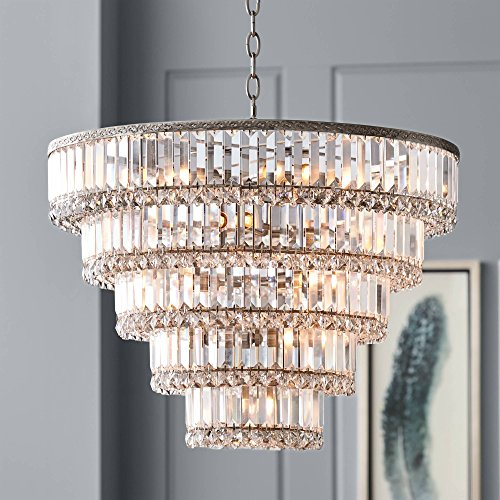 Rectangular Nickel Chandelier (Magnificence Satin Nickel 24 1/2