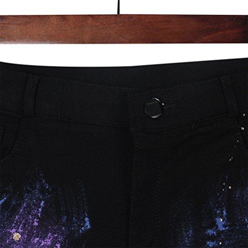 Accessoire Pantalon Kesheng Imprim Graffiti Elastique Femme Jean xZx6qURz