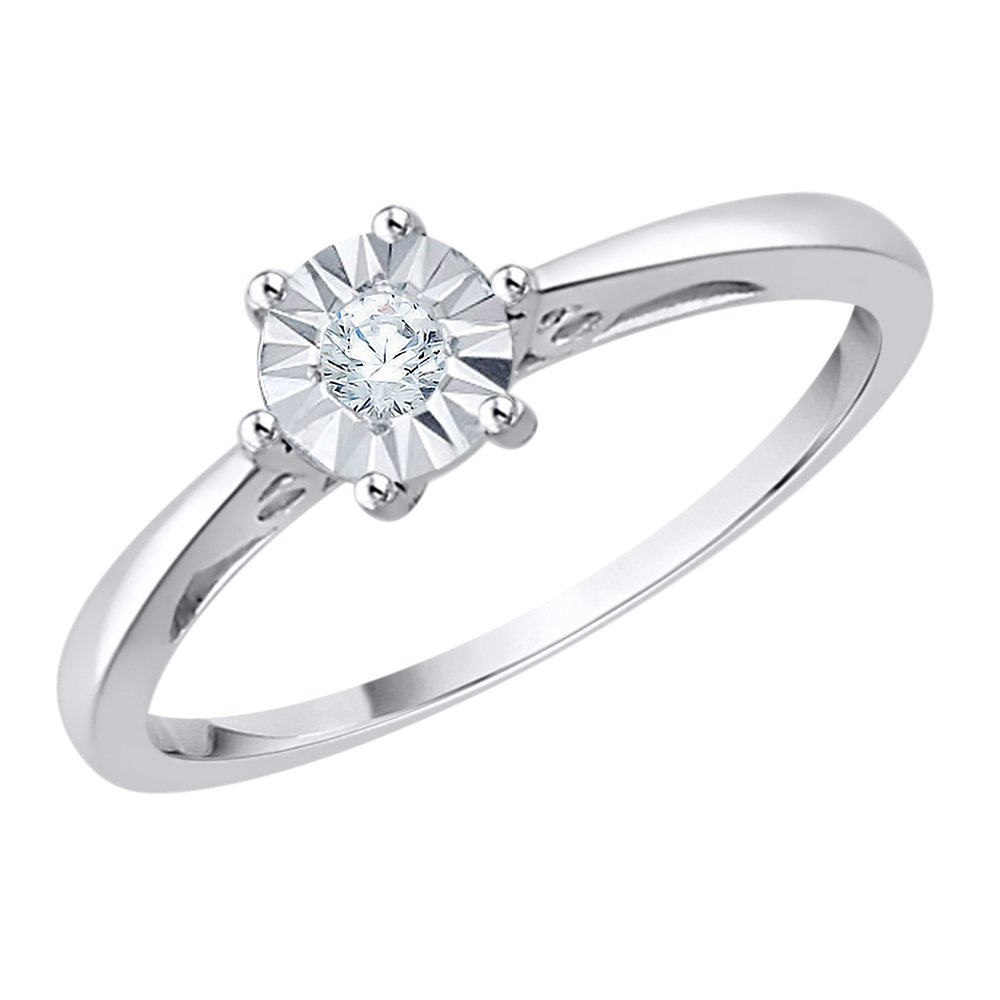 Diamond Promise Ring in Sterling Silver (1/10 cttw) (I-Color, SI3-I1 Clarity) (Size-4.75)