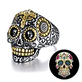 XIEXIELA Sugar Skull Rings Stainless Steel Day of The Dead Gothic Cross Flower Cool Mens Jewelry Halloween Size 10