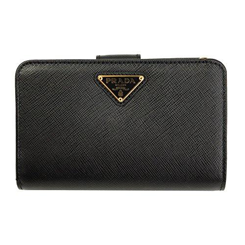 Prada Black Saffiano Leather W/Triangle Logos Bi-Fold Wallet 1ML225 Nero