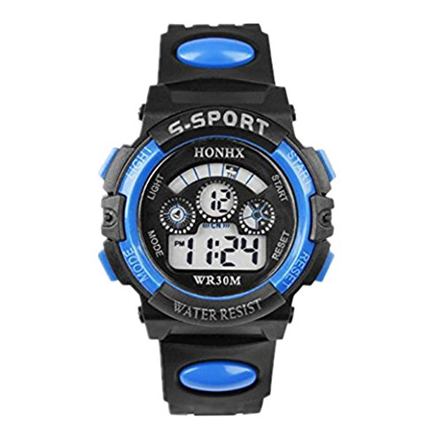 Price comparison product image START Children Boy Waterproof Sports Digital LED Quartz Alarm Date Wrist Watch-Blue