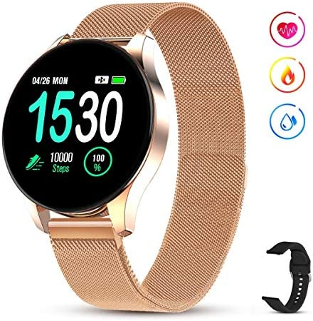 GOKOO Smartwatch for women Men with all-day heartbeat Blood pressure Sleep monitor IP67 Waterproof Sport Activity Tracker Notifications Music Camera control Calorie Running Counter Reminder Gold