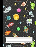 Primary Composition Notebook: Grades K-2 School Exercise Book   Story Picture Space with Dotted Midline   Galaxy Rocket…
