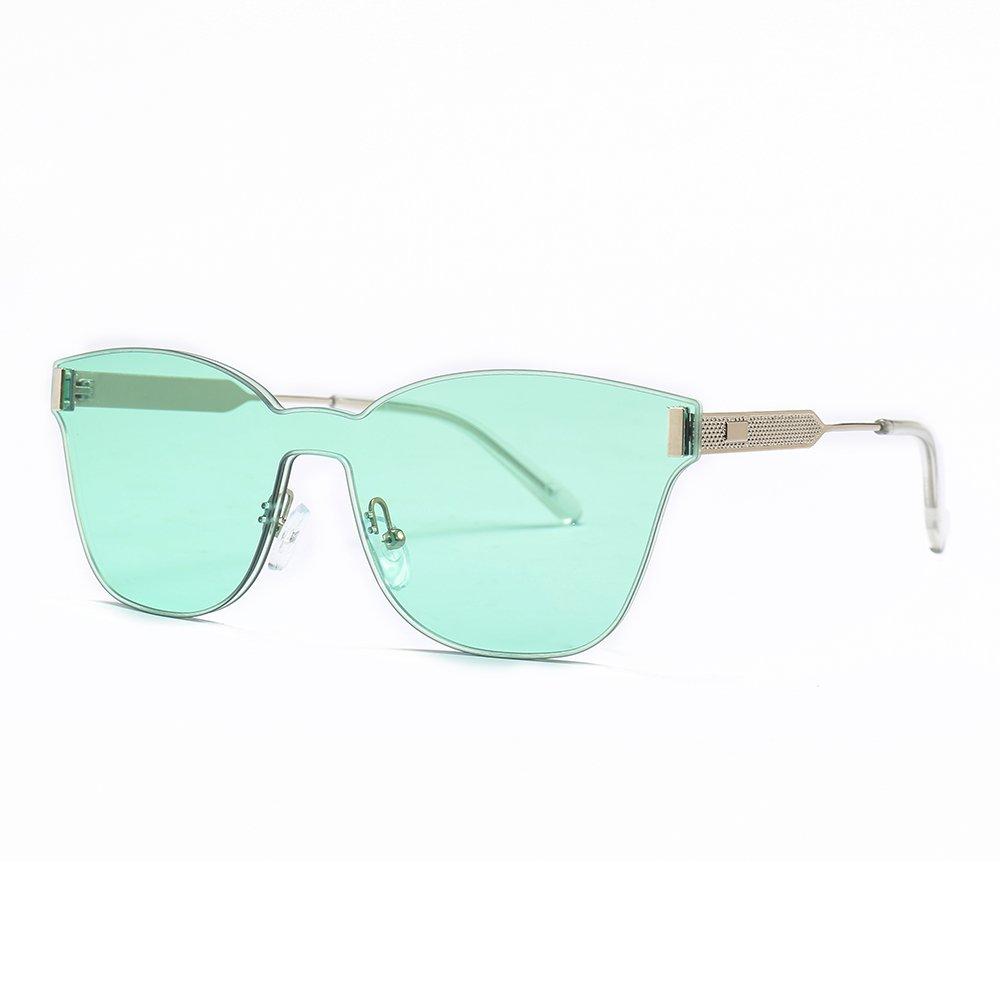 SUERTREE Summer Fashion Big Cat Eye Sunglasses Vintage Big Frameless Rimless UV 400 Protect Shades for Travel 22074 (Silver Frame, Green)