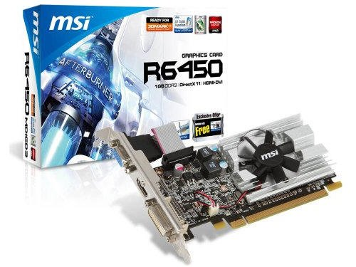 MSI ATI Radeon HD6450 1 GB DDR3 VGA/DVI/HDMI Low Profile PCI-Express Video Card R6450-MD1GD3/LP by MSI