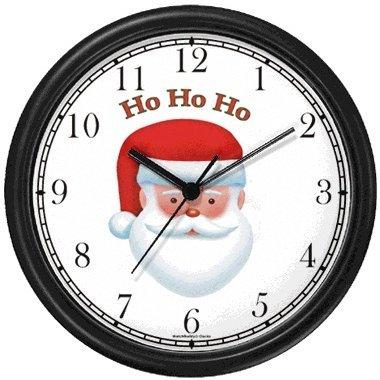 Christmas Theme Wall Clock - Santa Claus (Head) Ho Ho Ho - Christmas Theme - JP Wall Clock by WatchBuddy Timepieces (Hunter Green Frame)