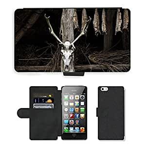 Hot Style Cell Phone Card Slot PU Leather Wallet Case // M00116918 Skull Skeleton Animal Dark Death // Apple iPhone 5 5S 5G