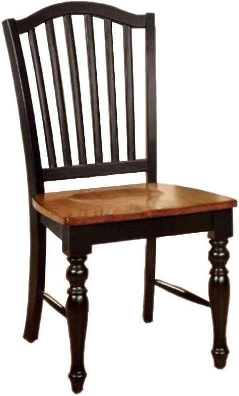 Benjara Benzara , Set of Two, Black and Antique Oak Mayville Cottage Side Chair Withwooden Seat, Black & Antique