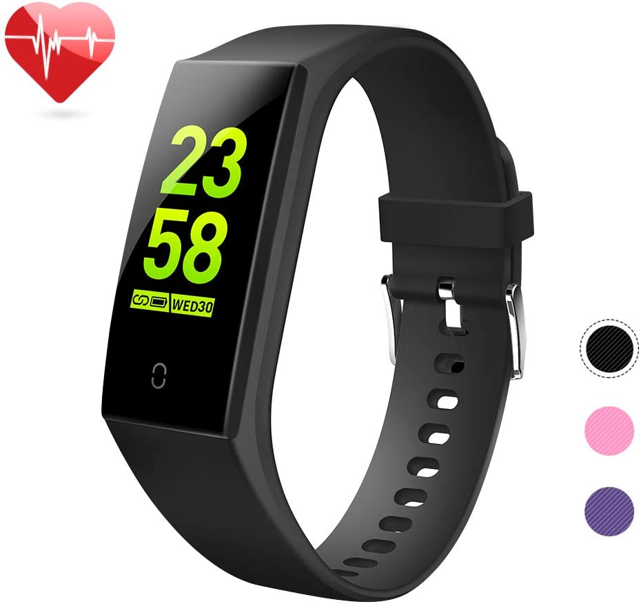 goopow Fitness Tracker, Activity Tracker Watch with Heart Rate Monitor,Blood Pressure Monitor,Waterproof Smart Fitness Band with Step Counter, Calorie Counter, Pedometer Watch Kids Women and Men