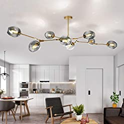 Interior Lighting LUOLAX Modern Pendant Light Glass Chandelier with 8 Lights Fixture Hanging Semi Flush Mount(8 Heads Gold-Gradient Gray) modern ceiling light fixtures
