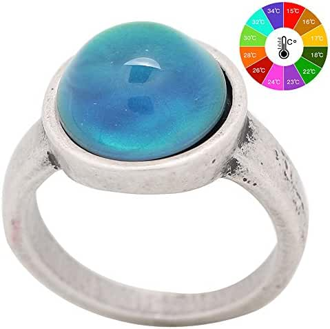 Mojo Basic Classic Antique Sterling Silver Plated Ring Round Stone Color Change Mood Rings MJ-RS036