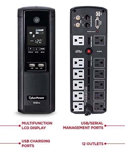 CyberPower BRG1500AVRLCD Intelligent LCD UPS System, 1500VA/900W, 12 Outlets, AVR, Mini-Tower, 5-Year Warranty by CyberPower (Image #1)