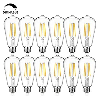 12Packs Vintage LED Edison Bulbs, 60W Equivalent 7W, 800Lumens, Dimmable ST64 Antique LED Filament, Soft Warm White 2700K, E26 Medium Base Light Bulbs High Brightness Clear Glass for Bedroom Office