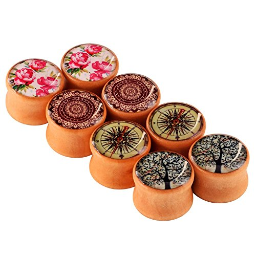 Longbeauty 4 Pair Organic Vintage Hand Made Wood Double Flared Saddle Tunnel Ear Plugs Expander Gauges ()