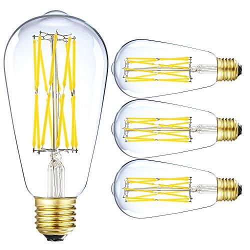 LEOOLS LED Vintage Bulb, 15W Dimmable Edison Filament Light Bulb, ST64 1300 Lumen Daylight 5000K, 100W-120W Incandescent Equivalent,E26 Medium Base Squirrel Cage Antique Lamp, Pack of 4