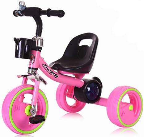 Triciclo para niños Bicicletas para bebés Trineo para niños Triciclo para bebés Música para bebés Triciclo ligero de colores Bicicleta de 1 año y medio a 6 años Bicicleta para niños Rojo:
