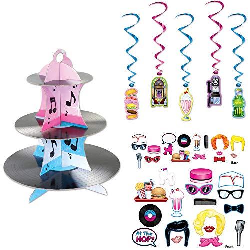 (Fabulous 50s Soda Shop Dangling Whirls Photo Fun Cutouts Rock N Roll Cupcake Stand 23 Piece)