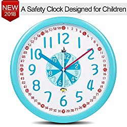 Kids Wall Clock Silent Baby Nursery 12 Wall Clock in Kid Bedroom Mute Clock-Cute Pirate ship Submarine Themes, Easy Read Learn Time Teacher Children Colorful Analog Wall Clock For Boy Girl Blue