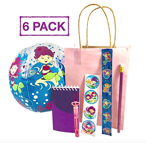 (Mermaid Birthday Party Favors and Supplies Complete Under the Sea kit for 6 Little Guests Including Bag, Mermaid Beach Ball, Stickers, Glitter Note Pad, Mermaid Pencils, Mermaid Slap Bracelet and Bubbles)