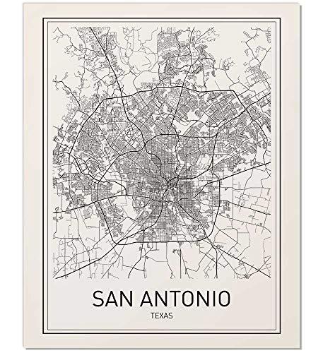 San Antonio Map, San Antonio Poster, City Map Posters, Texas City, Texas Map, San Antonio, Modern Map Art, Black and White, Map Wall Art, Texas Map Art, Scandinavian Poster, 8x10 ()