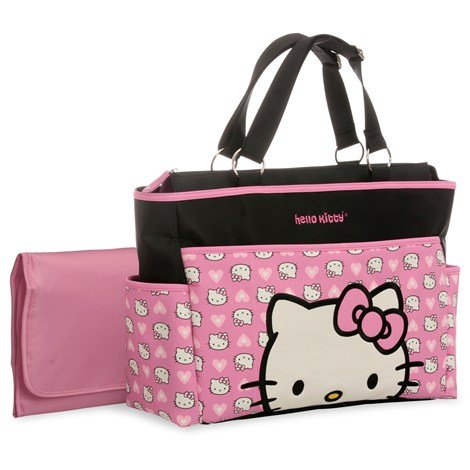 Pink and Black Hello Kitty Printed Tote Diaper Bag
