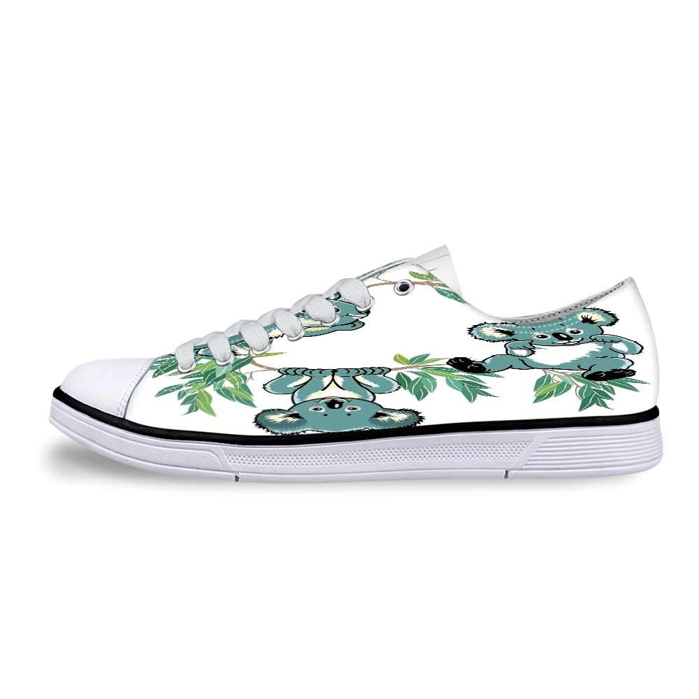 Tropical Animals Soft Low Top Canvas ShoesKoala Family on Dotted Spotted Background Marsupial Mascots of Mother Earth for Women,US 5